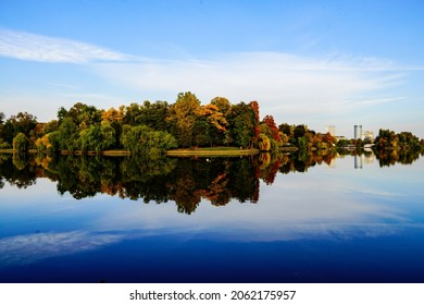 autumn landscape in Herastrau Park, Bucharest City, Romania
