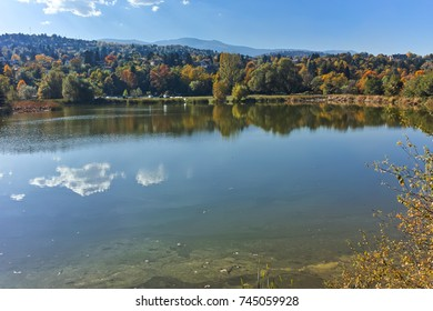 Autumn Landscape of Iskar River near Pancharevo lake, Sofia city Region, Bulgaria