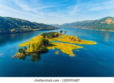 Autumn landscape, islands on a yard Yenisei in Russia Siberia, shooting from air