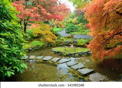autumn landscape in Japanese Garden of the national historical site Butchart Gardens, Vancouver island, British Columbia, Canada