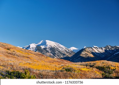 Autumn landscape at Kebler Pass in Colorado Rocky Mountains, USA.