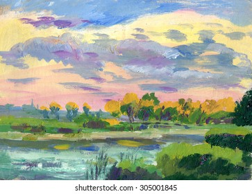 autumn landscape with a lake painting
