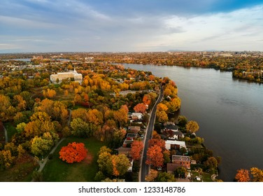 Autumn landscape in Laval, Canada, aerial view