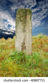 Autumn landscape, lonely concrete column (mark)