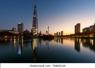 Autumn landscape at lotte world in morning in Seoul city, South Korea.