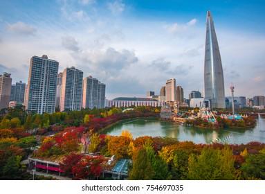 autumn landscape at lotte world in seoul korea: 1 november 2017 seoul korea