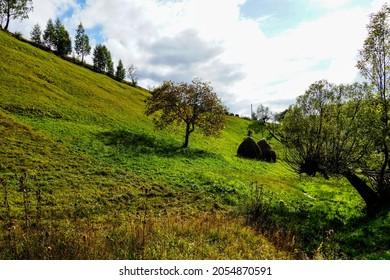 autumn landscape in The Magura Village, Brasov, Romania