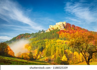 Autumn landscape with medieval castle Lietava near Zilina town, Slovakia, Europe.