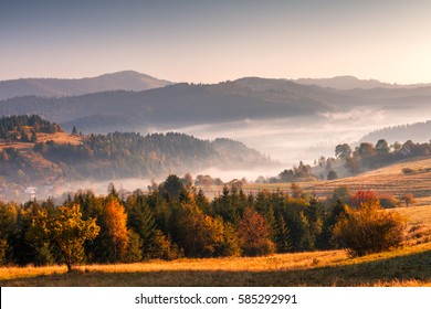 Autumn landscape, misty morning in the region of Kysuce, Slovakia, Europe.