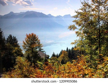 Autumn landscape in Montreux above lake Geneva.