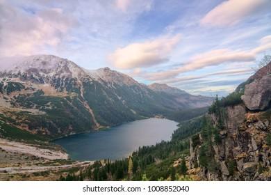 Autumn landscape with mountain and mountain lake Morskie Oko in Poland.