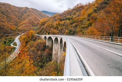 Autumn landscape in mountainous Montenegro