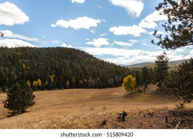 Autumn landscape with mountains and aspen trees turning yellow, Nature background with a Rocky Mountains, forest and dry grass, Fall landscape on a sunny day with blue sky