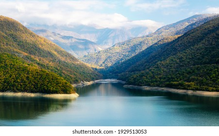 autumn landscape of mountains and lake in Georgia