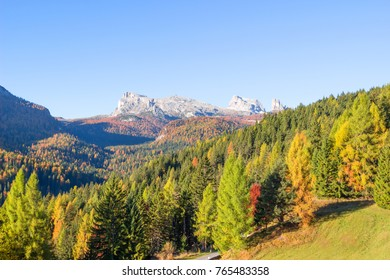 Autumn landscape in the mountains, Mountain autumn landscape with colorful forest.