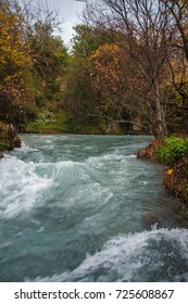 Autumn landscape with multicolored trees in gorge of Louise on Peloponnese in Greece