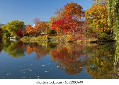 Autumn landscape at Nakajima Park, Sapporo City, Hokkaido, Japan.