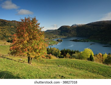 Autumn landscape in norwegian fjords with the lake, snowcap mountains and blue sky in the background