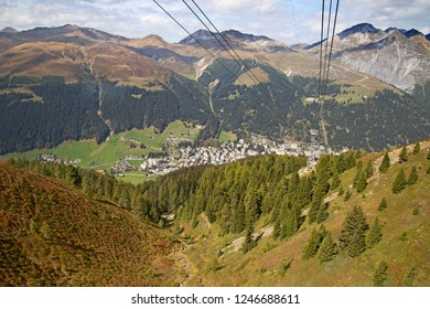 Autumn landscape on the mount Jakobshorn in Davos, Switzerland