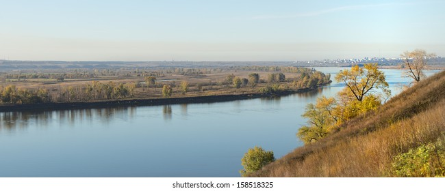 autumn landscape on the river Kama, Russia