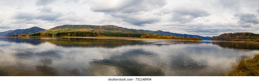 Autumn landscape on the Yenisei River in Russia, Siberia, Krasnoyarsk.