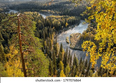 Autumn landscape in Oulanka National Park at sunrise in Finland. Beautiful river in pine forest in Northern Finland. Forest covered with first snow - Shutterstock ID 1797076864