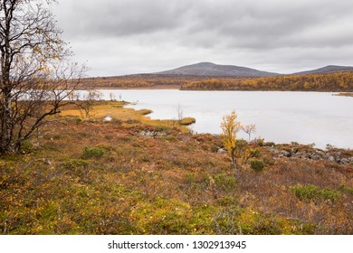 Autumn landscape over a mountain landscape in northern Finland