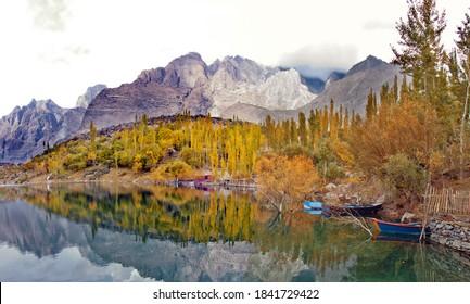 autumn Landscape panorama photography of upper kachura lake  Karakorum range Gilgit Baltistan Pakistan