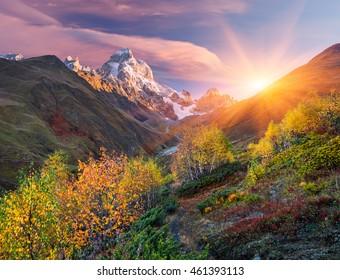 Autumn landscape. Path in the mountains. Mount Ushba, Main Caucasian ridge. Zemo Svaneti, Georgia. Art processing of photos. Color toning