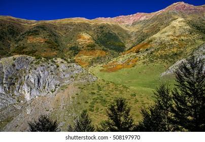 "Autumn landscape in the Pyrenees in Spain. ""Selva de Oza"" in Huesca."