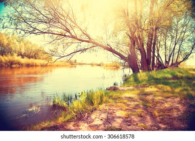 Autumn landscape with a river. Beautiful autumnal scene, fall