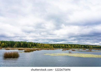 Autumn landscape with river and cloudy sky on a cloudy day, Russia.