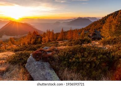 Autumn landscape at sunrise in Switzerland - Shutterstock ID 1936593721