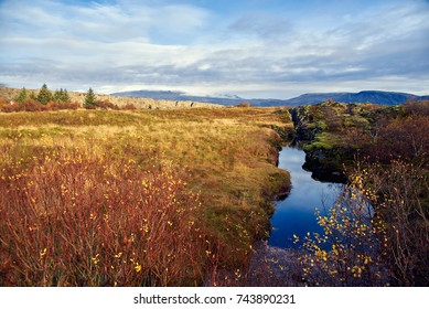 Autumn landscape in The Thingvellir National Park