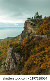 Autumn landscape, view of Foros church in Crimea against the background of the Black Sea, Russia. Temple of the Resurrection of Christ.