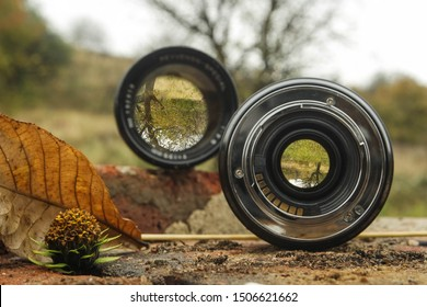 Autumn landscape view, through camera lenses with different focal lengths