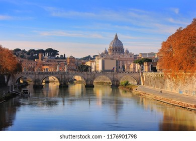 autumn landscape with view at Vatican City and Bridge Ponte Vittorio II, Rome, Italy