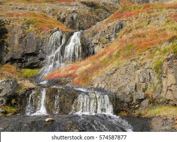 Autumn landscape with waterfalls in the westfjords of Iceland
