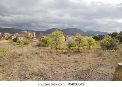 Autumn landscape with yellow leaves Gudar mountains Teruel Aragon Spain