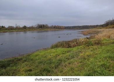 Autumn landscapes on the River Daugava near Naujenae, Latvia. Daugavas loki