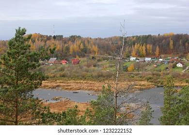 Autumn landscapes on the River Daugava near Kraslava, Latvia. Daugavas loki