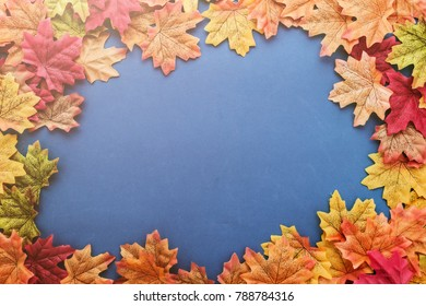 autumn leaf on color texture floor with free copy space for your ideas texts