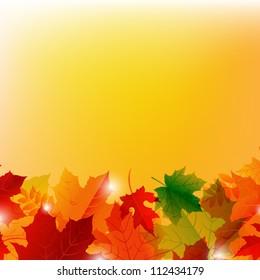 Autumn Leafs Border, Isolated On Orange Background