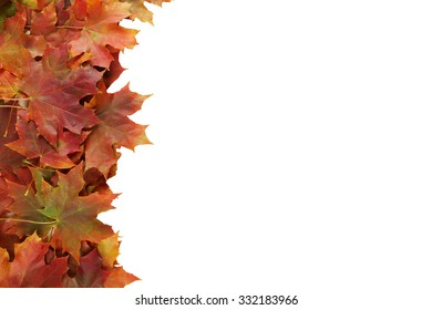 Autumn leafs frame on white background