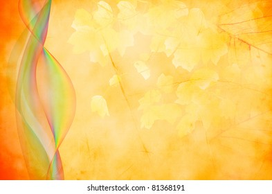 Autumn leafy background with waves