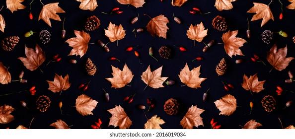 Feuilles d'automne avec motif de composition de gland et cônes sur fond sombre depuis le dessus. Texture feuille d'érable sur papier noir. L'art de l'action de grâce et de l'halloween saisonniers.