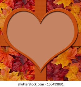 Autumn Leaves Background with heart-shaped center for copy-space, Autumn Time Background