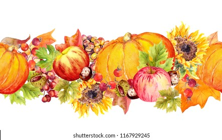 Autumn leaves, fruits and vegetables (pumpkin, apples, berries, nuts). Thanksgiving horizontal seamless border frame