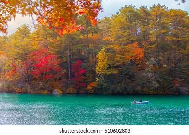 Autumn Leaves in Goshikinuma Lake, Fukushima, Japan