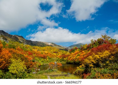 Autumn leaves in Hokkaido Japan lake and pod district in mountain area